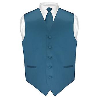 Men's Dress Vest & Skinny NeckTie Solid Color 2.5
