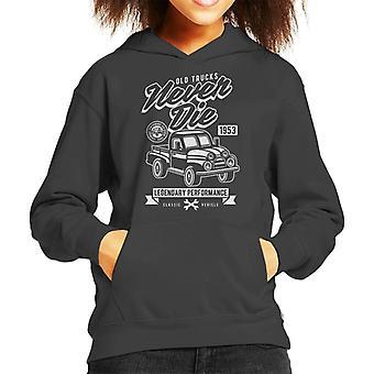 Vintage gamla lastbilar dör aldrig Kid's Hooded Sweatshirt