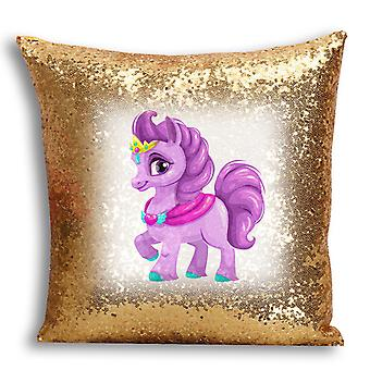 i-Tronixs - Unicorn Printed Design Gold Sequin Cushion / Pillow Cover for Home Decor - 18