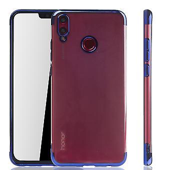 Handyhülle für Huawei Honor 8X Blau - Clear - TPU Silikon Case Backcover Schutzhülle in Transparent / glänzender Rand Blau