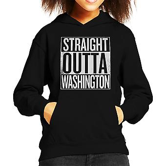 White Text Straight Outta Washington US States Kid's Hooded Sweatshirt