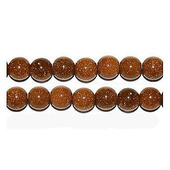Strand 45+ Brown Goldstone 8mm Plain Round Beads GS1609-3
