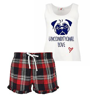 Pug Unconditional Love Ladies Tartan Frill Short Pyjama Set Red Blue or Green Blue