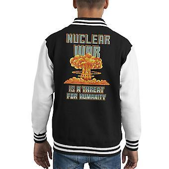 Nucleaire oorlog Is een bedreiging voor de mensheid kernexplosie Pixel Art Kid's Varsity Jacket