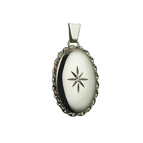 9ct White Gold 23x16mm diamond star set oval twisted wire edge Locket