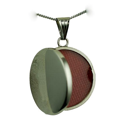 9ct White Gold 23mm round flat plain Locket with a curb chain