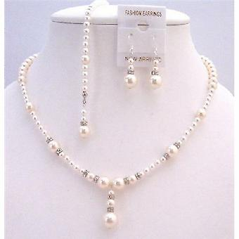 Back Dropdown Necklace Set White & Ivory Pearls Wedding Jewelry Set