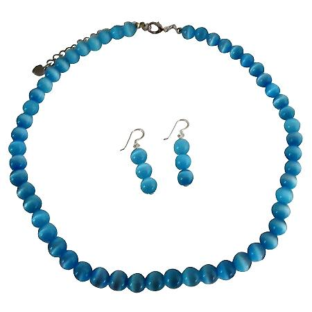 Beautiful Blue Jewelry Blue Cat Eye Necklace w/ Sterling Silver Earrings Custom Jewelry