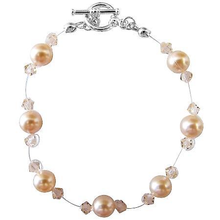 Peach Pearls Bracelet Swarovski Bracelet w/ Peach Crystals Bracelet