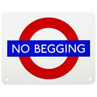 No Begging London Underground Roundel small enamel sign  (gg)