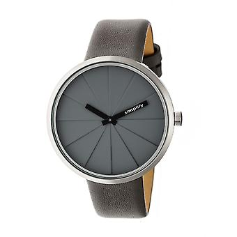 Simplify The 4000 Leather-Band Watch - Grey