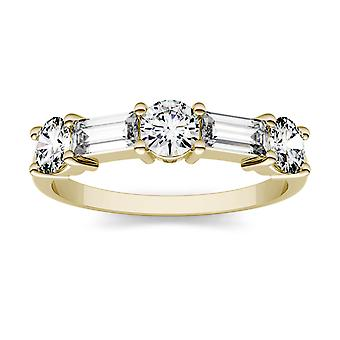 14K Yellow Gold Moissanite by Charles & Colvard 5x2mm Straight Baguette Fashion Ring, 1.15cttw DEW
