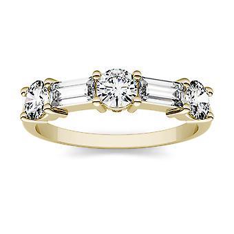 14K żółty złoto Moissanite przez Charles idealna Colvard 5x2mm bagietka prosto moda pierścień, 1.15cttw rosy