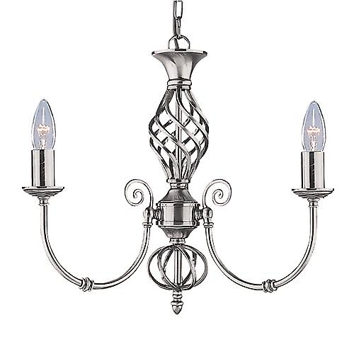 Searchlight 4489-3 Zanzibar Satin Silver 3 Light Fitting Wrought Iron