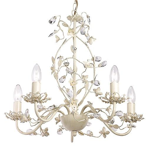 Endon LULLABY-5CR Lullaby Shabby Chic 5 Light Chandelier In Soft Cream Gold