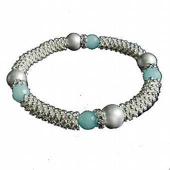 Park Lane Silvertone & Blue Beads Elasticated Bracelet