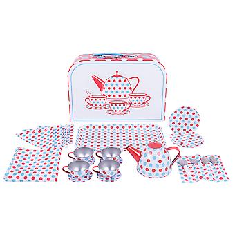 Bigjigs Toys Spotted Tin Tea Set with Carry Case Picnic Pretend Role Play