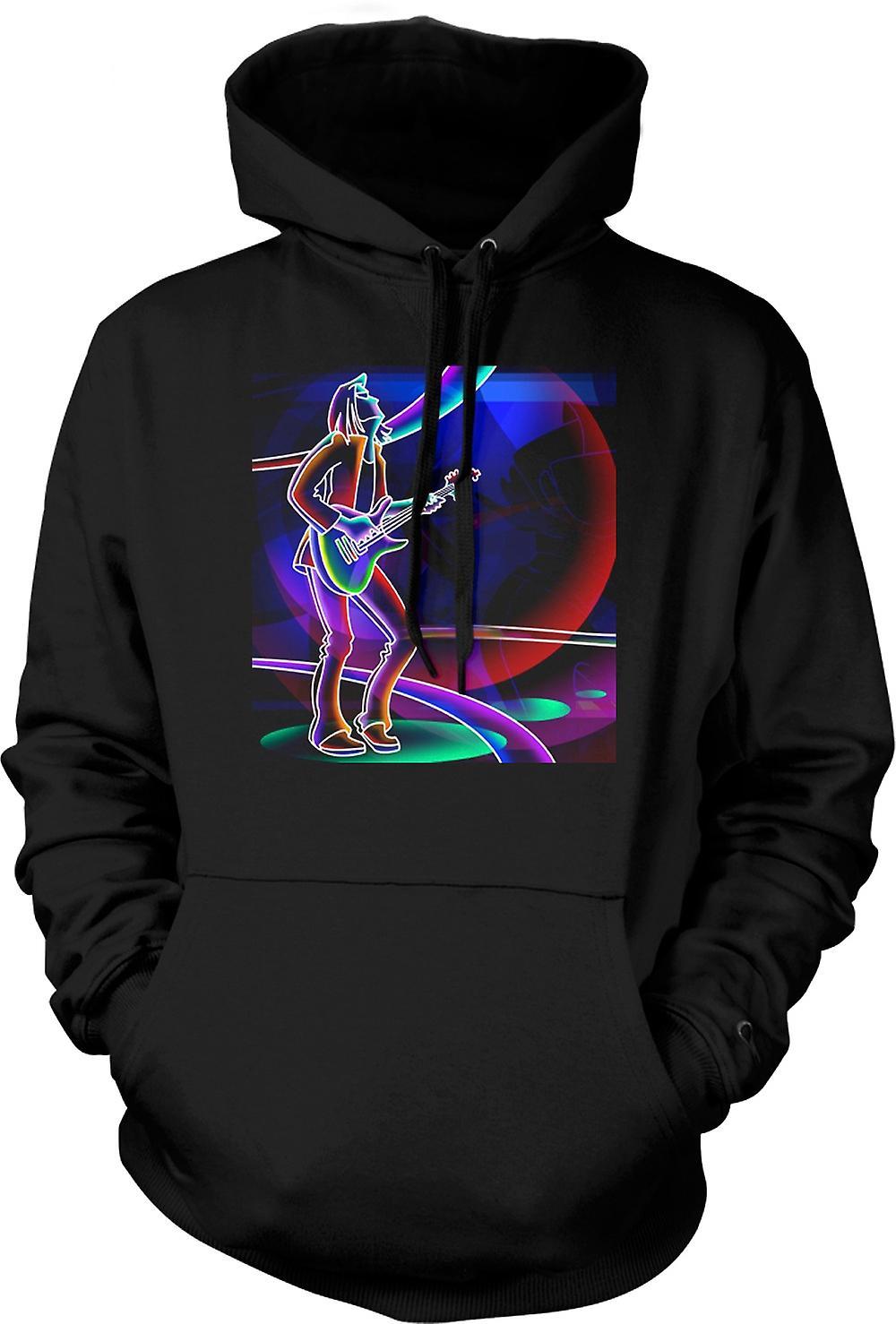Mens Hoodie - Neon Rock Guitarist