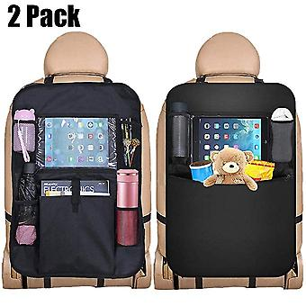 2x Kick Mats Car Organisers Waterproof Seat Back Protectors with 10 IPad Holder and Section for Tissue Box Magazines Snacks