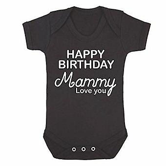 Happy birthday mammy black short sleeve babygrow
