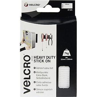 Hook-and-loop tape stick-on Hook and loop pad, Heavy duty (L x W) 100 mm x 50 mm White VELCRO® brand VEL-EC60240 2 pair