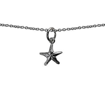 Silver 10x10mm Starfish Pendant with a rolo Chain 24 inches
