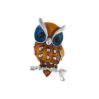 Brooches Store Gold & Blue Enamel Wise Owl Bird Brooch