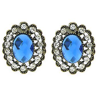 Clip On Earrings Store Large Antique Gold Filigree & Blue Oval Facet Crystal Clip On Earrings