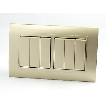 I LumoS AS Luxury Gold Plastic Arc Double Frame 6 Gang 2 Way Rocker Light Switches