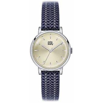 Orla Kiely Patricia Blue Leather Strap Champagne Dial OK2025 Watch