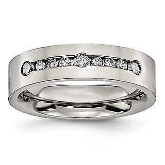 Titanium poliert 1/2 Ct Tw. 6mm Band Diamantring - Ringgröße: 8 bis 13