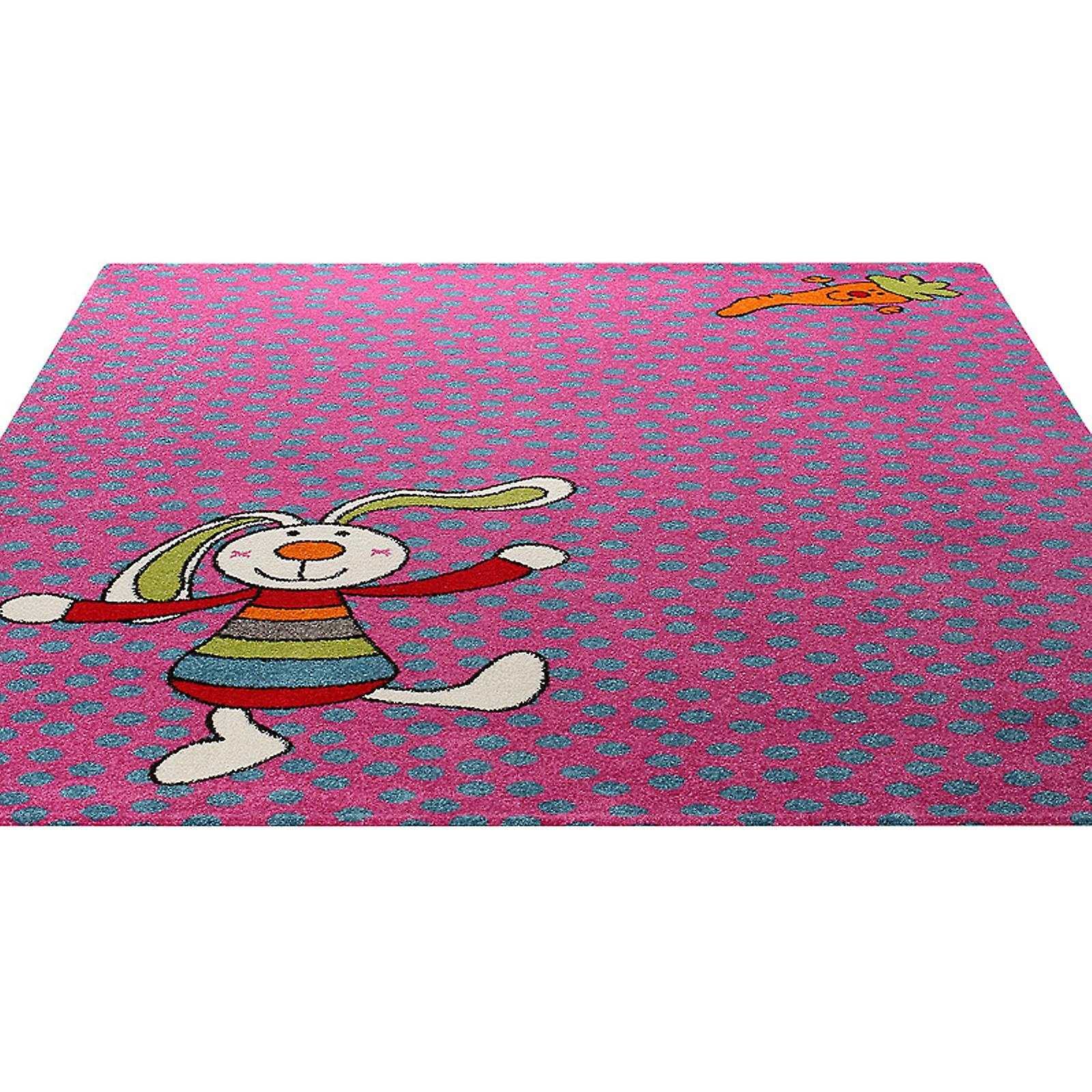 Rainbow Rabbit Rug In Pink 0523 03