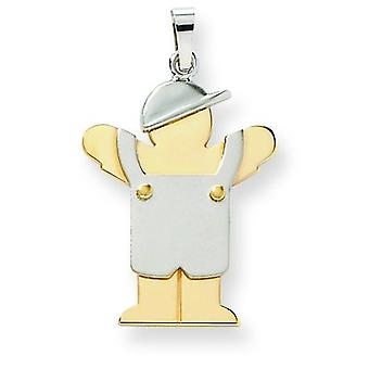 14k Two-Tone Gold Large Boy with Hat on Left Engraveable Charm - 2.4 Grams