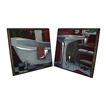2 Pc. Framed Tub and Sink Wooden Wall Hanging Set w/Mirrored Cutouts