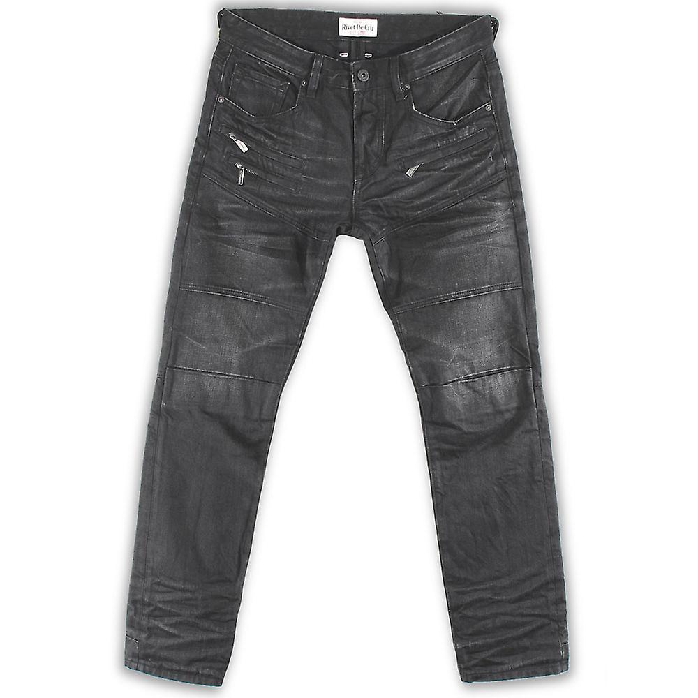 Nitte De Cru Senica Rock vask Moto tilspidset Jeans