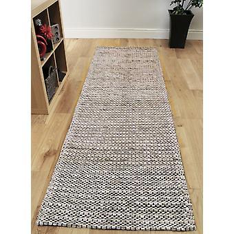 Silver Grey Hand Woven Wool & Cotton Runner Rug