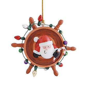 Santa Decorating Ship's Wheel for Festive Christmas Holiday Ornament