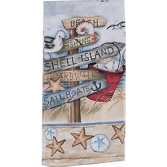 Stranden tegn Shell ø Boardwalk 26 tommer trykte køkken Terry håndklæde