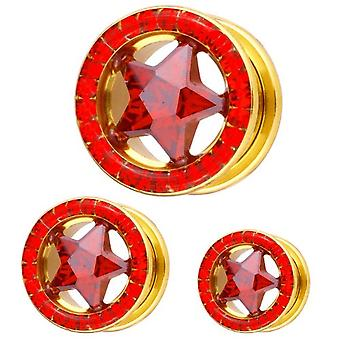 Ear Flesh Gold Plated Tunnel Star Red Multi Crystals | 8 - 16 mm
