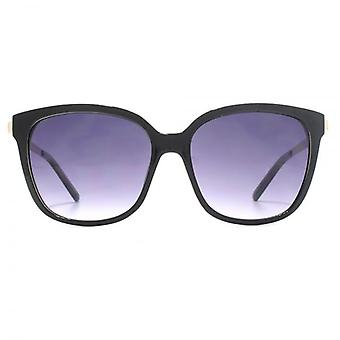 French Connection Metal Temple Square Sunglasses In Black On Milky White