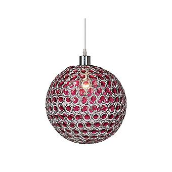 Lucide AYLA Purple Globe Ceiling Pendant With Chrome Finish