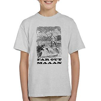 Far Out Man Vintage Fishing Drawing Kid's T-Shirt