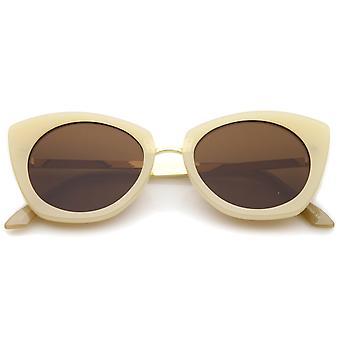 Women's Bold Frame Metal Temple Flat Lens Round Cat Eye Sunglasses 52mm