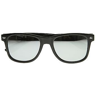 Klassische Retro-Mode Horn umrandeten Sonnenbrille w / voll verspiegelte Linse