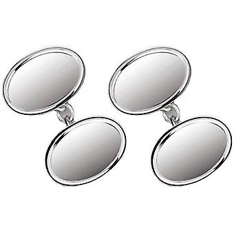 Orton West Sterling Silver Engraved Edge Chain Link Cufflinks - Silver