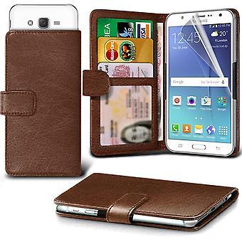 ONX3 Galaxy A7 / Galaxy A7 Duos skórzane Universal Spring zacisk etui portfel z uchwyt gniazdo karty i banknoty kieszeń brązowy