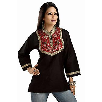 Black Art silk beaded patchwork Kurti