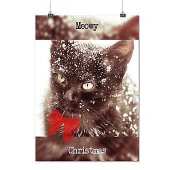 Matte or Glossy Poster with Cat Cute Kitty Christmas Meowy Christmas | Wellcoda | *q1511