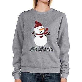 Værd smelter For snemand Sweatshirt gave Unisex grå Herre Top