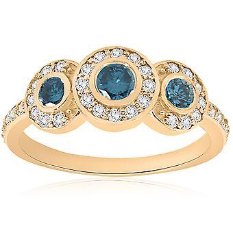 3/4ct Three Stone Blue Diamond 14K Yellow Gold
